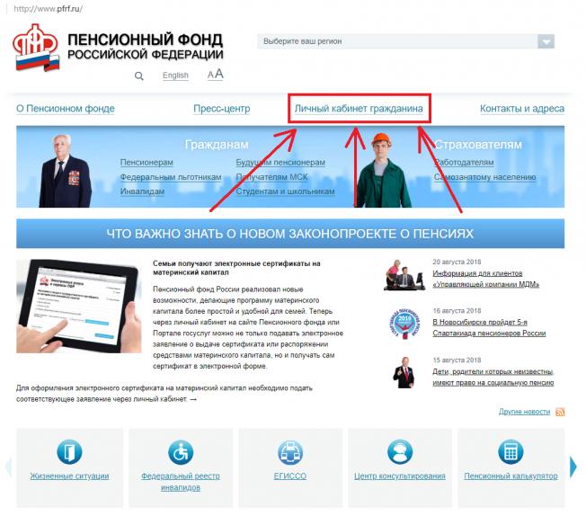 личный кабинет ПФРФ ру